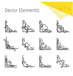 vignette corners swirly flourish corner vector image