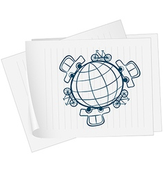 A paper with an image of a globe surrounded by vector image vector image