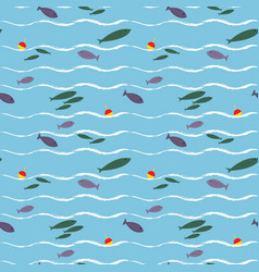 cartoon seamless pattern with cute fishes vector image vector image