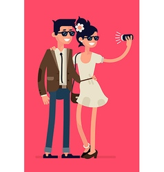 Couple Taking Selfies with a Selfie Stick vector image