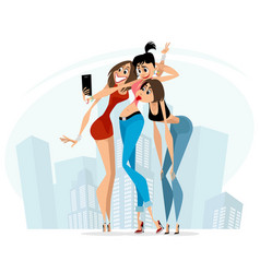 girls making selfie vector image