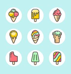 ice cream color icon set vector image
