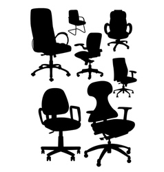 office chair silhouetts vector image vector image