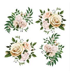 realistic watercolor rose bouquet leaf set vector image
