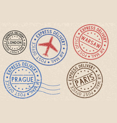 set of colored ink postmarks with european cities vector image