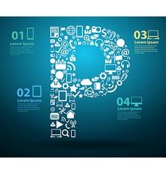 Application icons alphabet letters E design vector image vector image