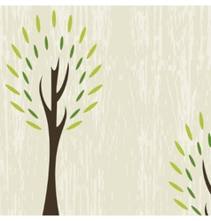 Card with stylized tree on grunge background vector image