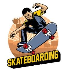 skater do the skateboard jumping trick vector image vector image