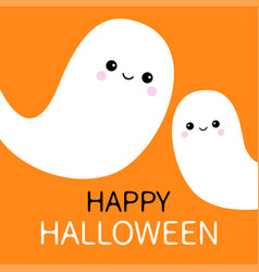 two flying ghost spirit set happy halloween scary vector image vector image