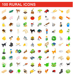 100 rural icons set isometric 3d style vector