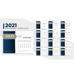 2021 new year calendar design elegant business vector