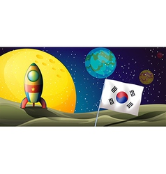 A spaceship near the Korean flag at the outerspace vector image