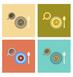 Assembly flat icons coffee break cup donut vector