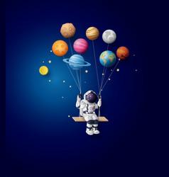 Astronaut floating in stratosphere paper art vector