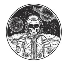 astronaut music skull modern t-shirt design vector image