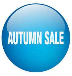 Autumn sale blue round gel isolated push button vector