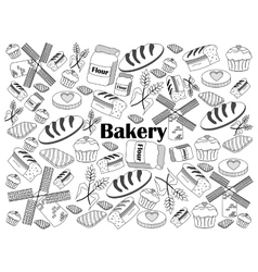 Bakery colorless set vector