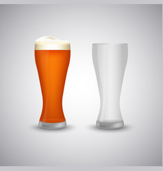Beer narrow glass empty and full template vector