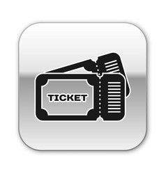 Black ticket icon isolated on white background vector