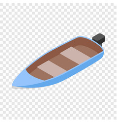 Blue motor boat isometric icon vector