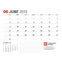 Calendar template for june 2019 business planner vector