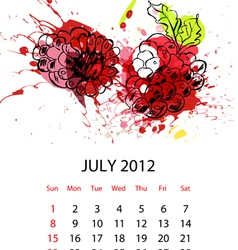 calendar with fruit for 2012 july vector image