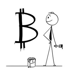 cartoon businessman with paint can and brush vector image