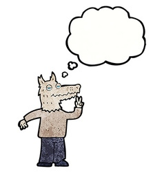 cartoon happy wolf man with thought bubble vector image