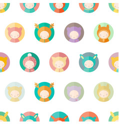 Characters dressed as animals kids seamless vector