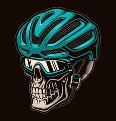 Colourful a skull cyclist in helmet vector