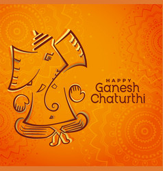 Creative lord ganesha festival beautiful greeting vector