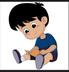 Cute kid read a book for exame vector