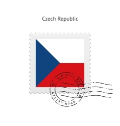 Czech Republic Flag Postage Stamp vector image