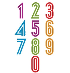 Double stripes funky numbers set vector image