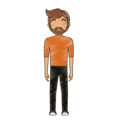 drawing avatar man hipster bearded standing vector image