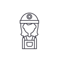female builder line icon concept female builder vector image