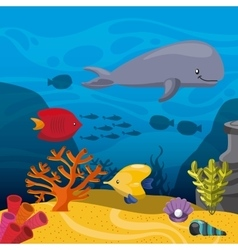 fish coral and algae icon Sea life design vector image