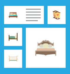 Flat bedroom set of bedroom hostel cot and other vector