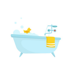 flat icon of blue bath with soap foam vector image