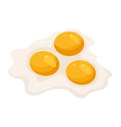 Fried eggs isolated on white background fried vector