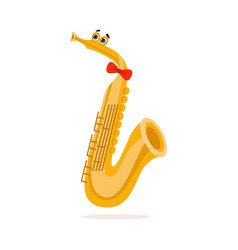 Funny saxophone musical wind instrument cartoon vector