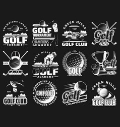 golf club championship sport league badge icons vector image
