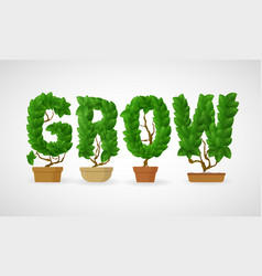 grow spelled out with a fresh leaves vector image