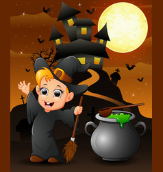Halloween background with happy boy witch holding vector