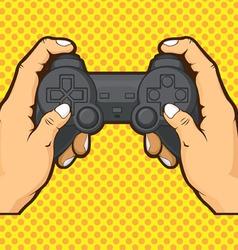 Hands Holding Joystick vector image