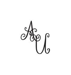 Handwritten monogram au icon vector