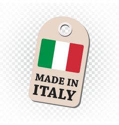hang tag made in italy with flag on isolated vector image