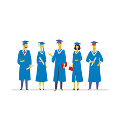 Happy graduating students - flat design style vector