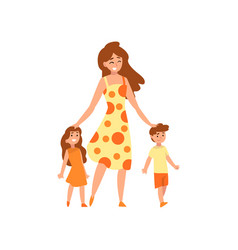 Happy mother walking with her son and daughter vector