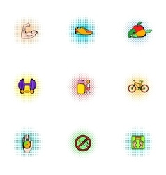 Healthy lifestyle icons set pop-art style vector image